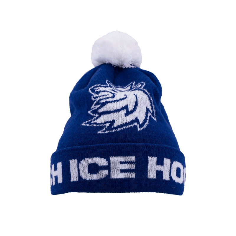 Beanie for kids with pom logo lion CH blue