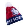 Beanie for adults with pom logo lion CH tricolor