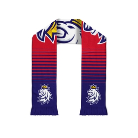 Knitted bothsided scarf with lion logo