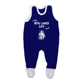 Baby jumpsuit blue with printed logo