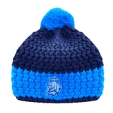 Beanie for kids black-blue with stitched logo CH