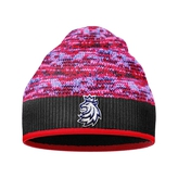 Beanie for kids red melange with stitched logo CH