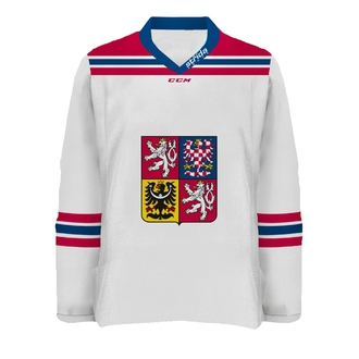 White Czech jersey original with embroidered name and number