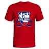 Men's T-shirt with crossed hockey sticks - red