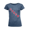 Women's T-Shirt oblique inscription CZECH - navy