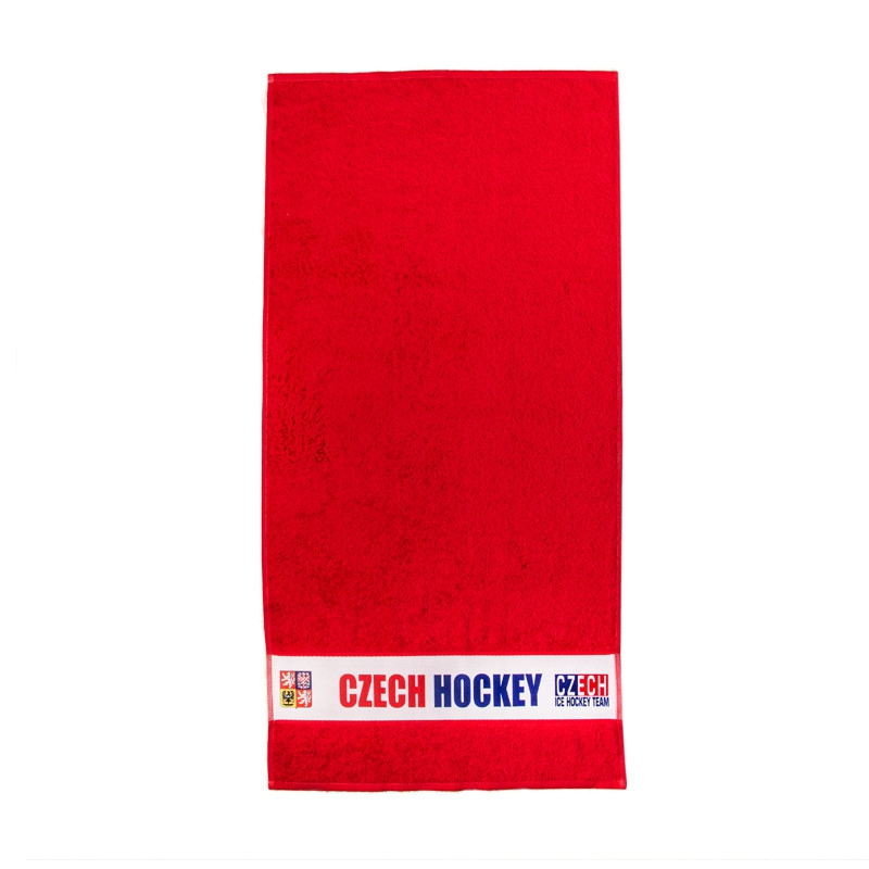 Towel with sign Czech Hockey red