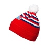 Beanie with pom-pom and stripes - adults red