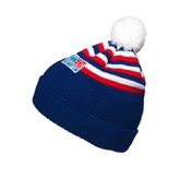 Beanie with pom-pom and stripes - adults blue