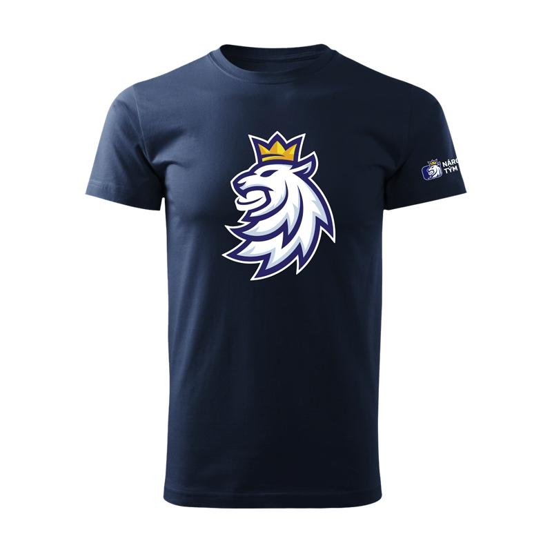 Men's t-shirt logo lion Czech ice hockey navy