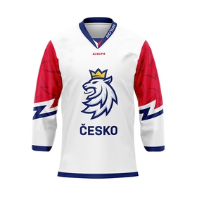 Jersey with embroidery logo Czech hockey white without ads