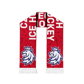 Scarf knitted Czech Hockey pattern - red